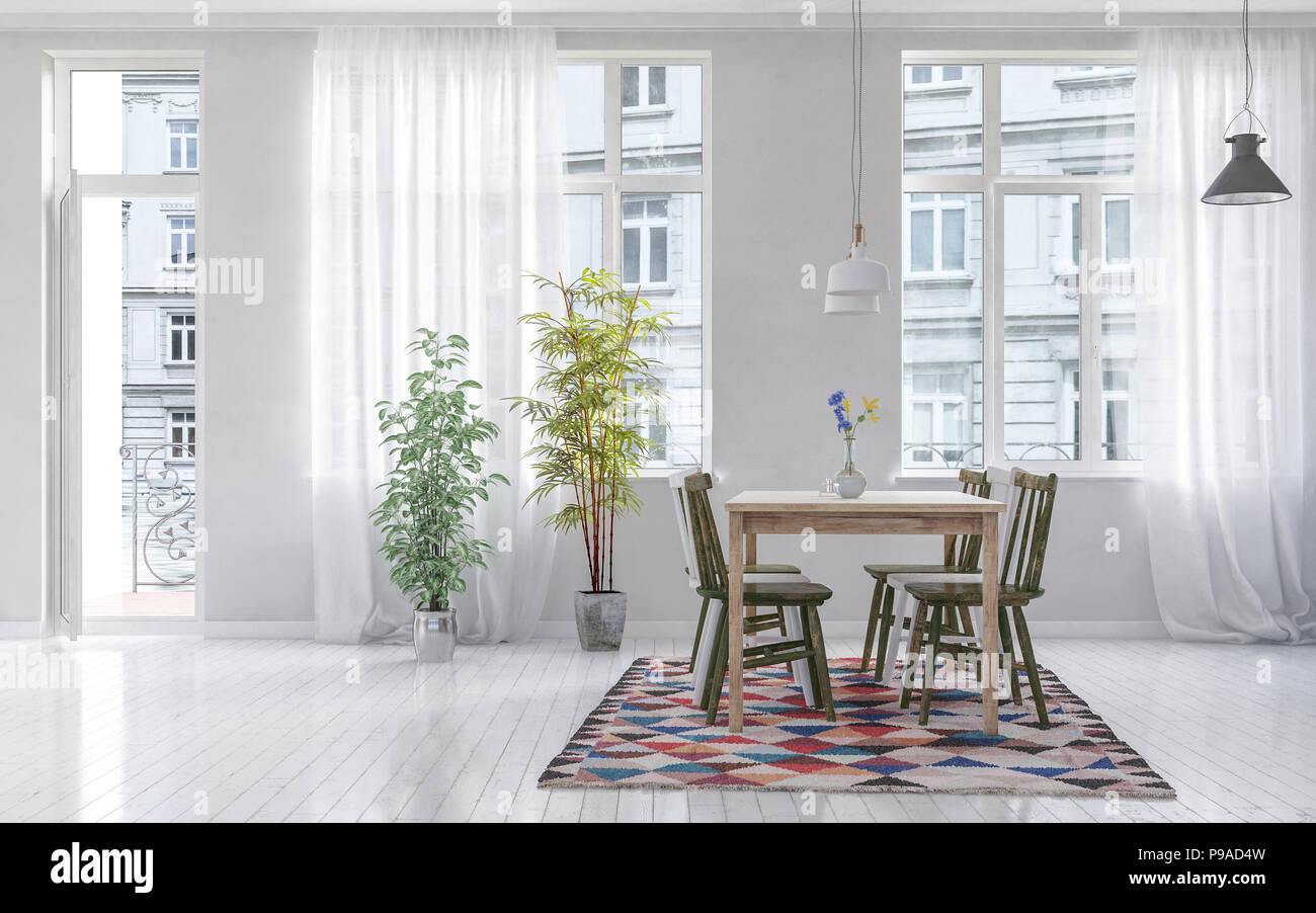 Modern Dining Room With Wooden Table And Chairs On Top Of