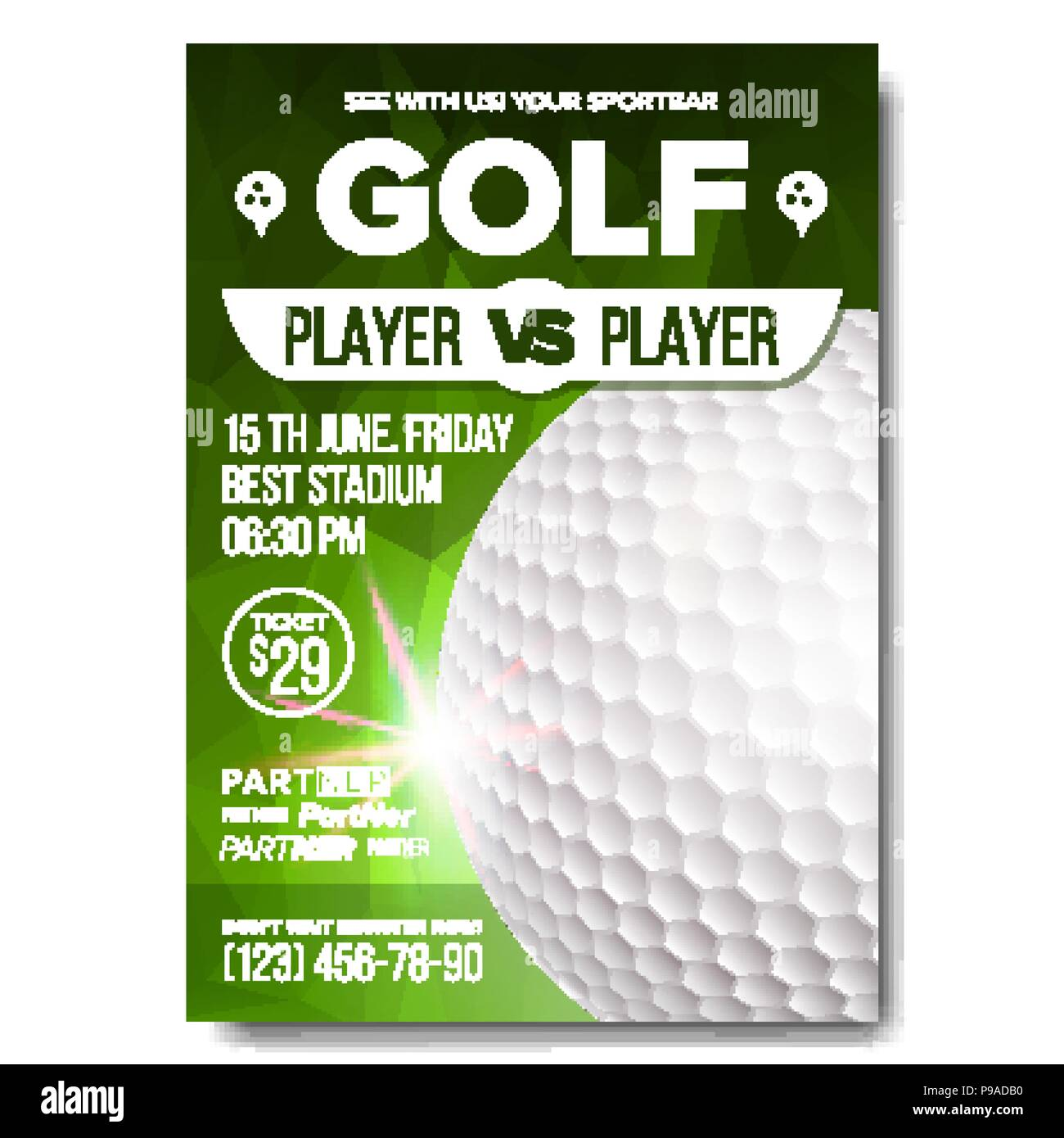 Golf poster vector sport event announcement banner advertising sport event announcement banner advertising professional league vertical sport invitation template event label illustration stopboris Choice Image