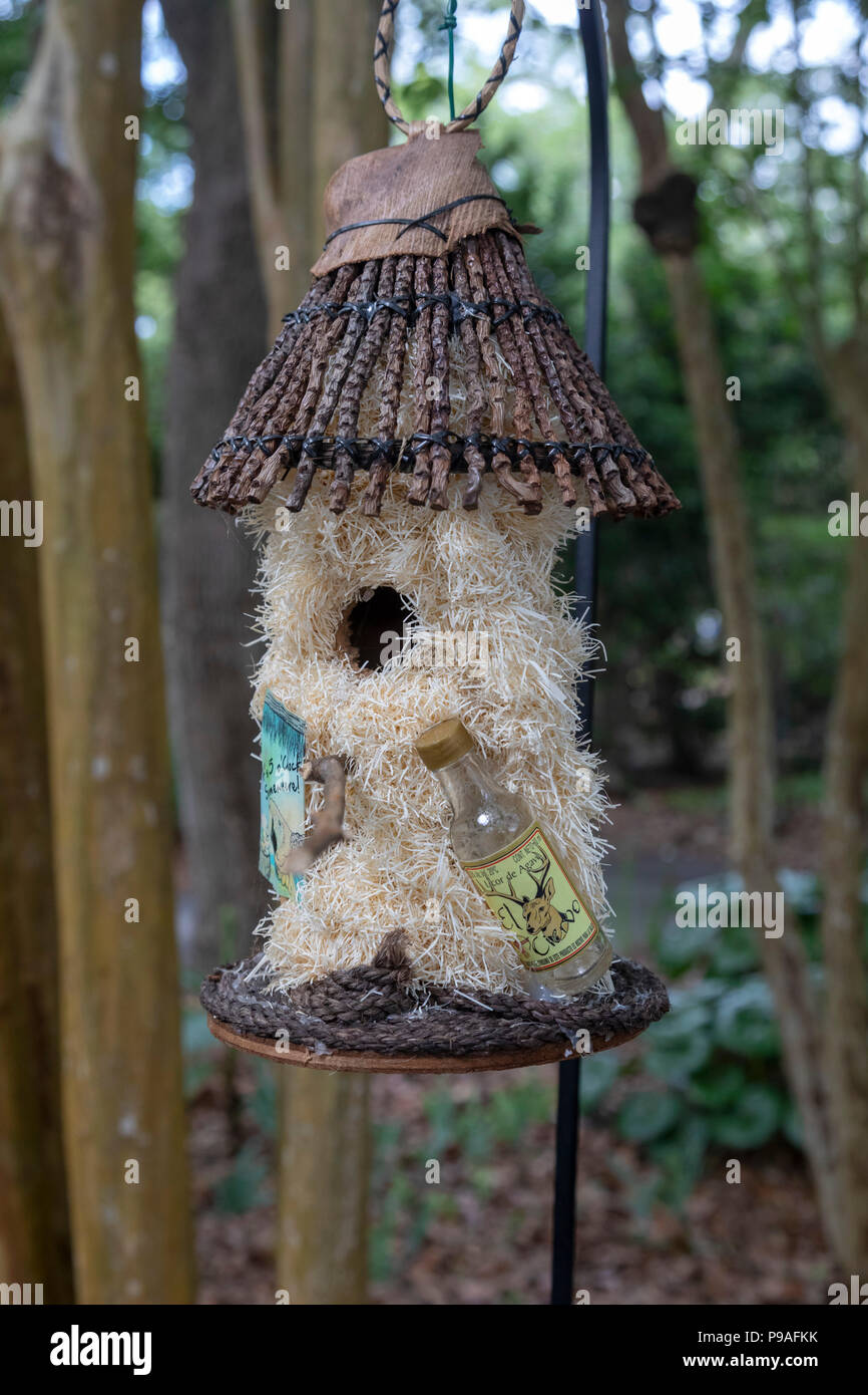 New Orleans, Louisiana - A hand-made birdhouse, one of 50 displayed at the New Orleans Botanical Garden as part of Home Tweet Home, a fundraising effo - Stock Image