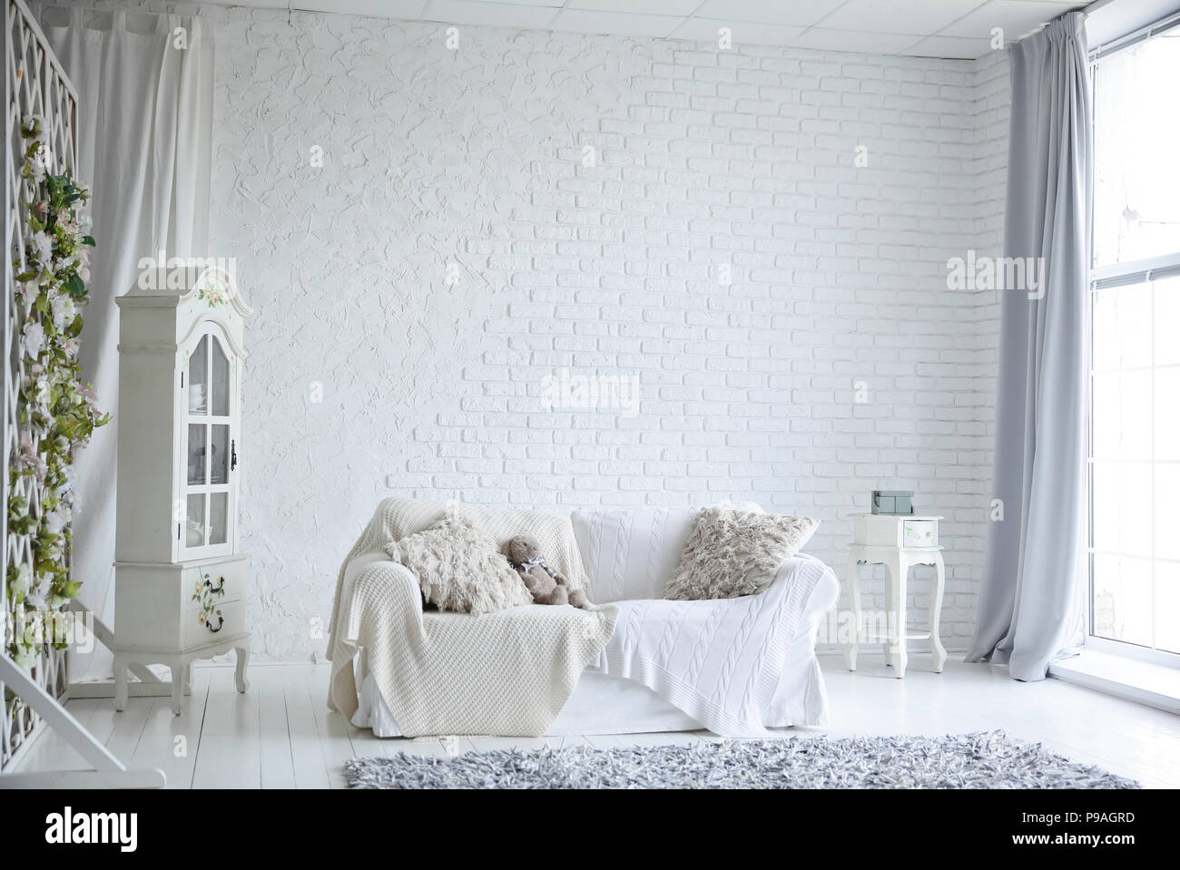 spacious and stylish living room on a holiday Stock Photo: 212289041 ...