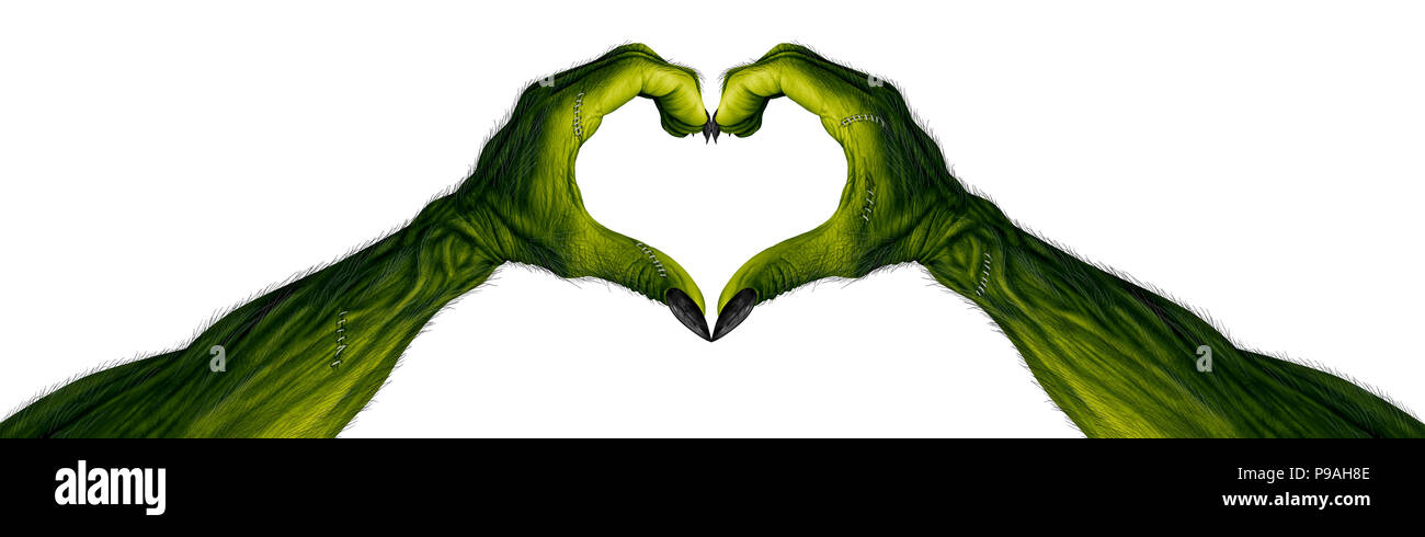 Monster hands in a heart shape as zombie fingers with  blank area as a creepy halloween or scary symbol with textured green skin. - Stock Image