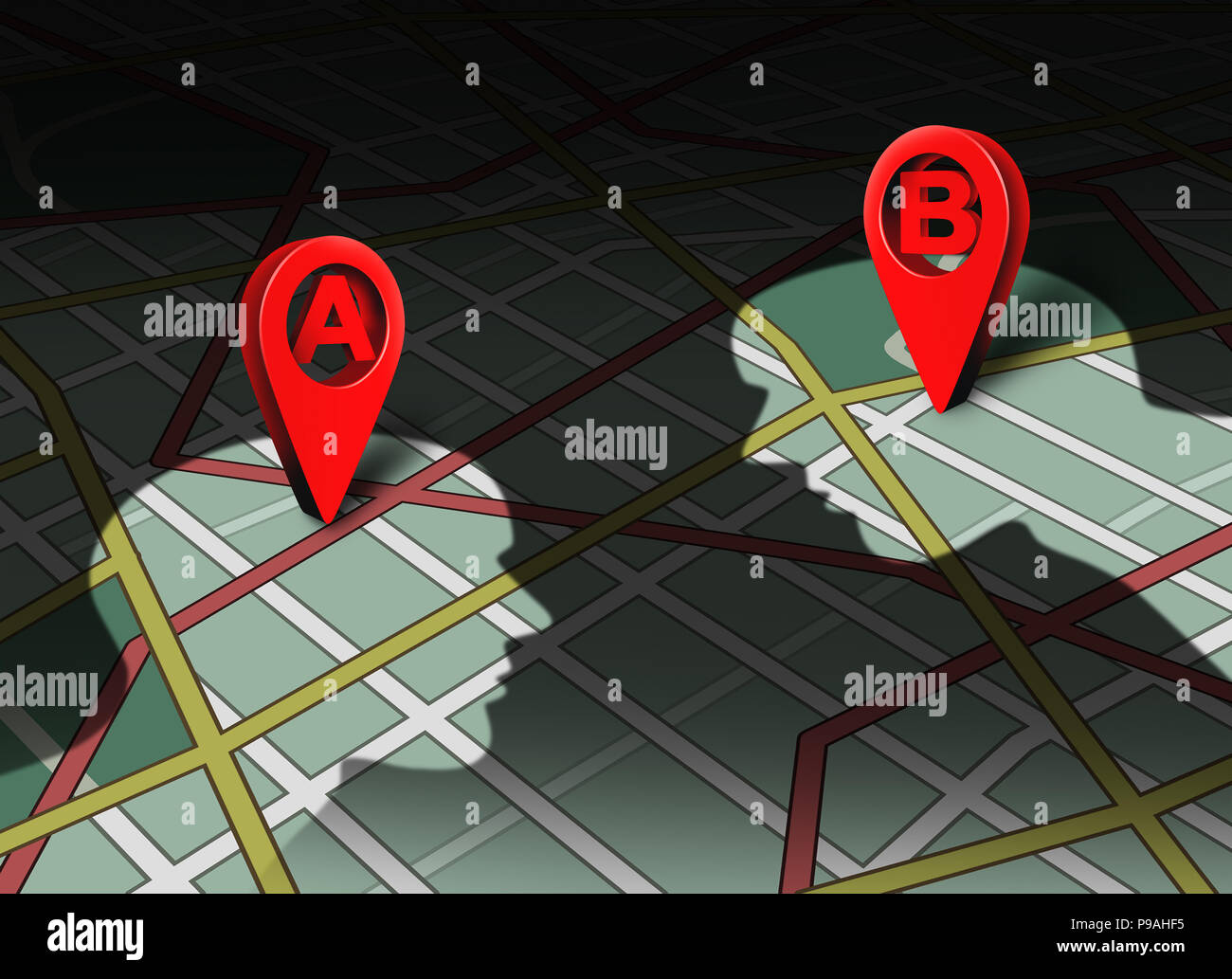 Point a to b concept location roadmap and gps navigator pin human business connection destination challenge as a corporate communication metaphor idea - Stock Image