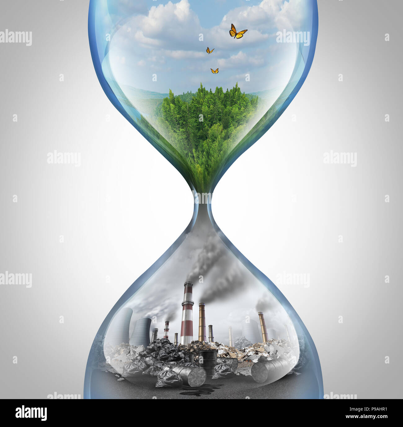 Rate of environmental damage and climate change urgency concept as a green natural habitat sinking into a pollution and toxic environment. - Stock Image