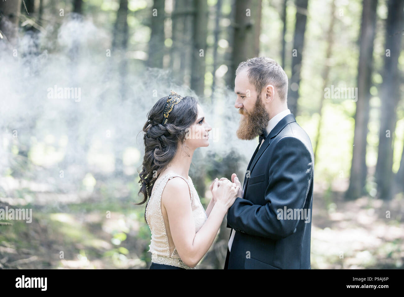 portrait of the bride and groom on the background of the Park - Stock Image