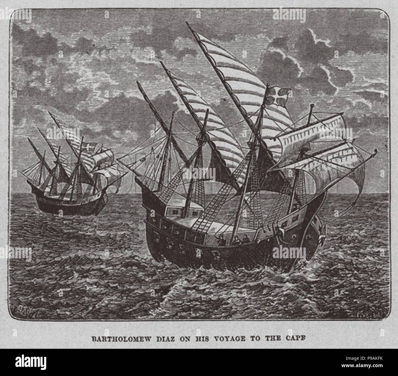 Bartholomew Diaz on his voyage to South Africa. Museum: PRIVATE COLLECTION. - Stock Image