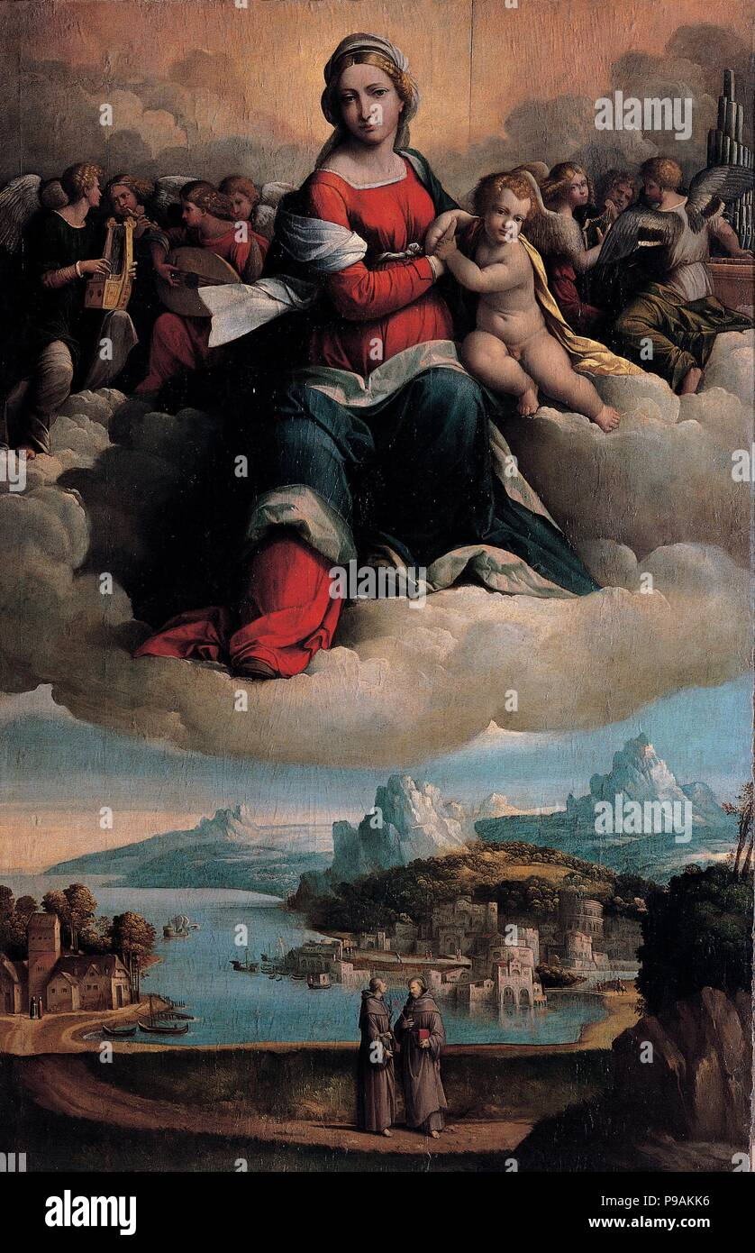 Madonna and Child in glory with the saints Anthony of Padua and Francis. Museum: Musei Capitolini, Rome. Stock Photo