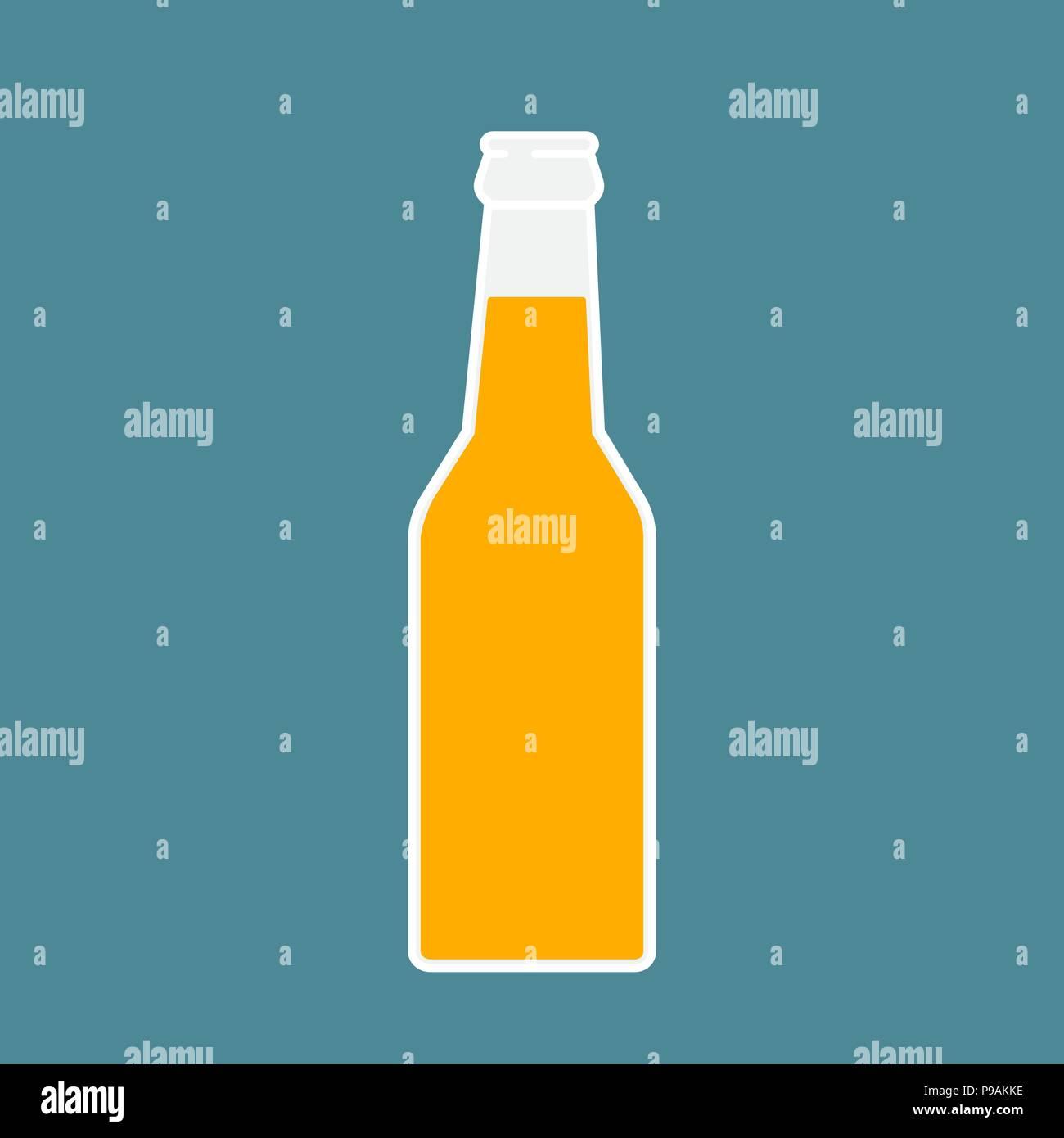 Beer Bottle Icon Mock Up Glass Lemonade Clean Symbol Template Logo Isolated Vector Illustration