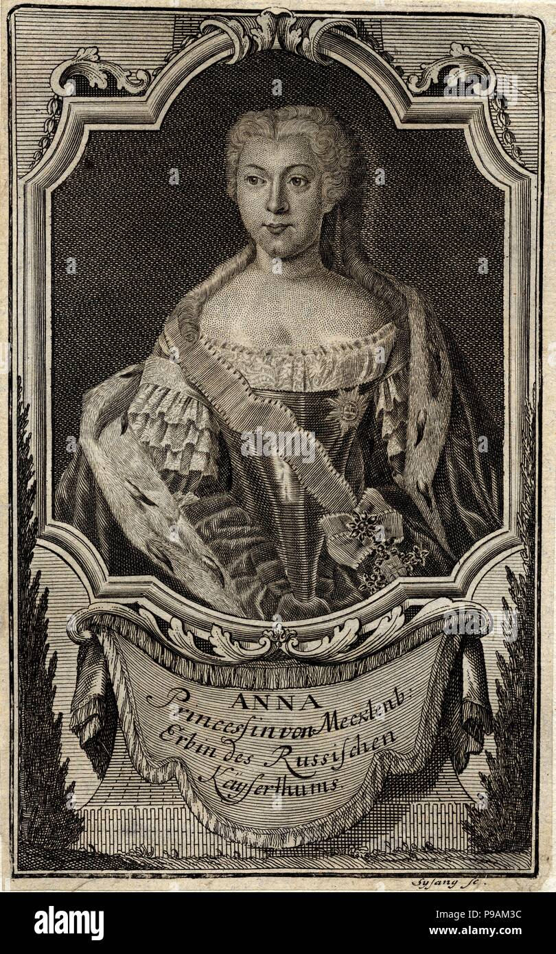 Portrait of Princess Anna Leopoldovna (1718-1746), tsar's Ivan VI mother. Museum: State History Museum, Moscow. Stock Photo