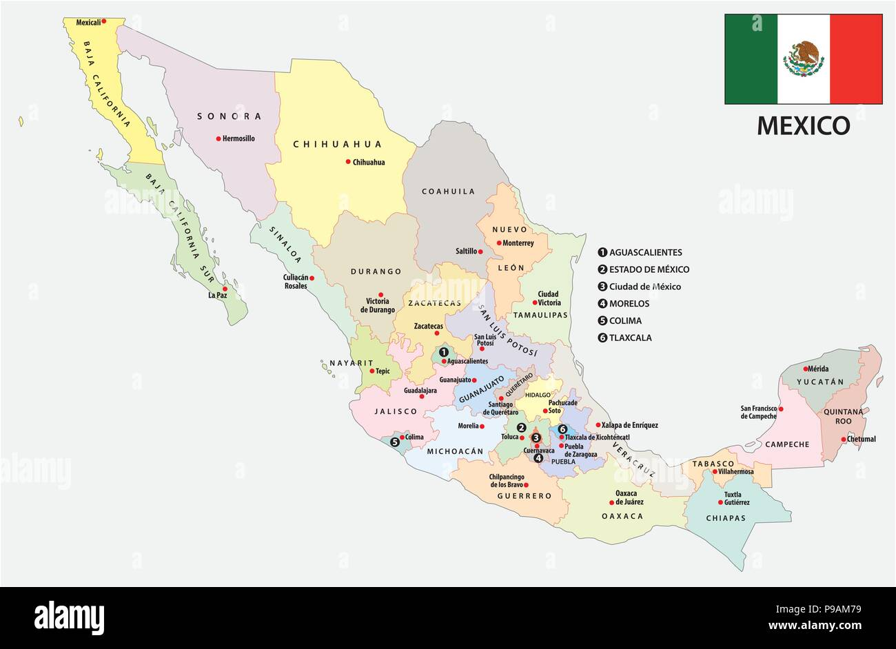 Mexico Administrative And Political Vector Map With Flag Stock Vector Image Art Alamy