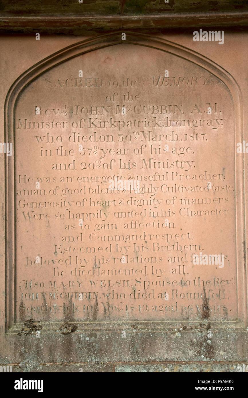 Inscription on gravestone Kirkpatrick church Irongray Kirkcudbright Castle Douglas Dumfries and Galloway Scotland Stock Photo