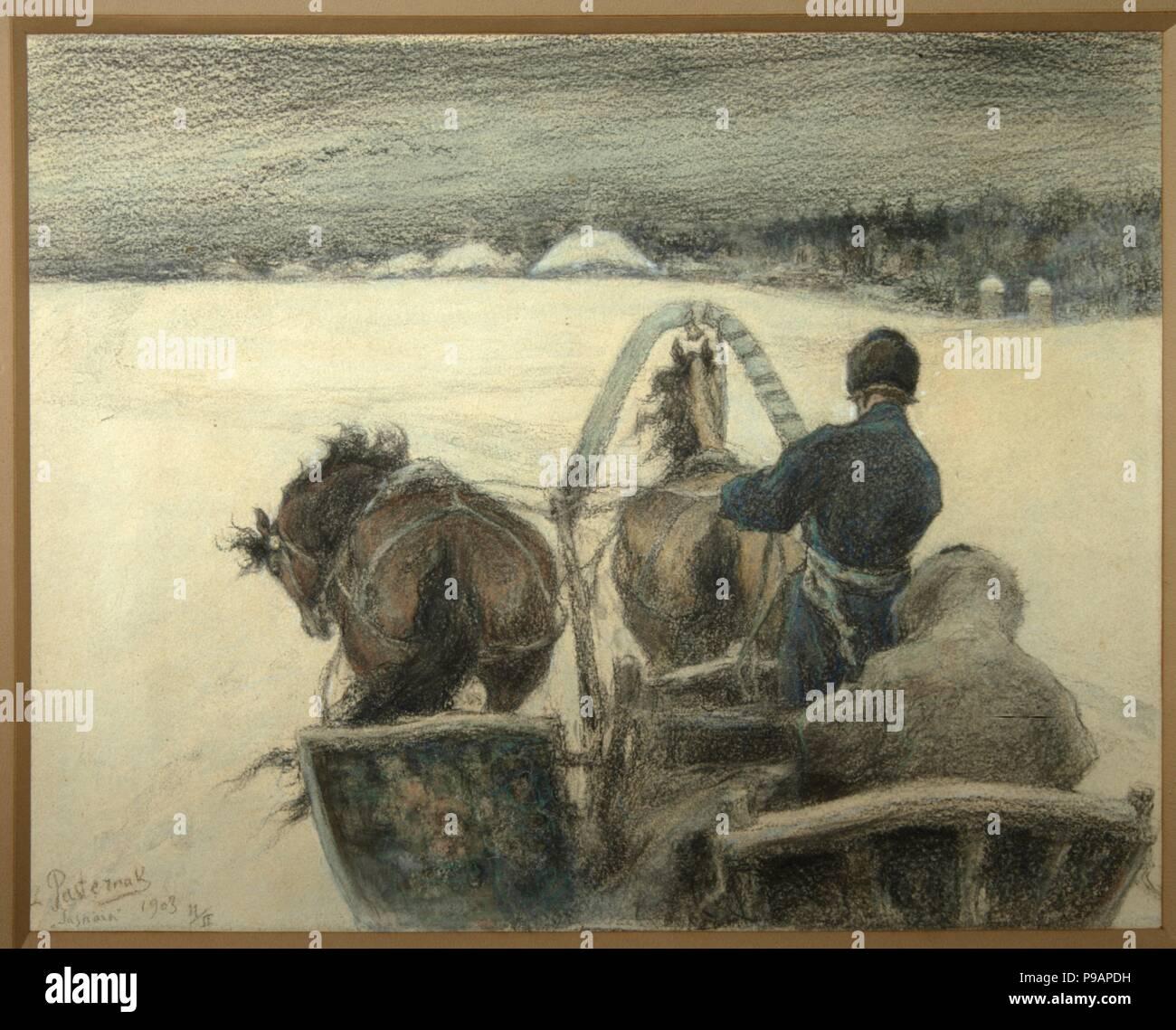 On the Road to Yasnaya Polyana. Museum: Regional A. Deineka Art Gallery, Kursk. Stock Photo