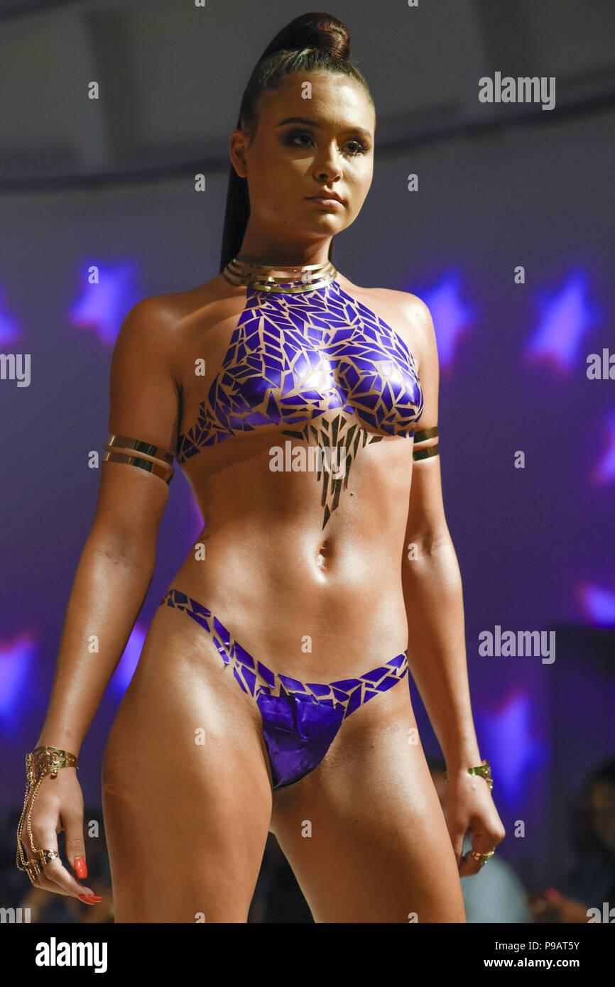 July 15, 2018 - Miami Beach, Florida, U S - A model walks the runway