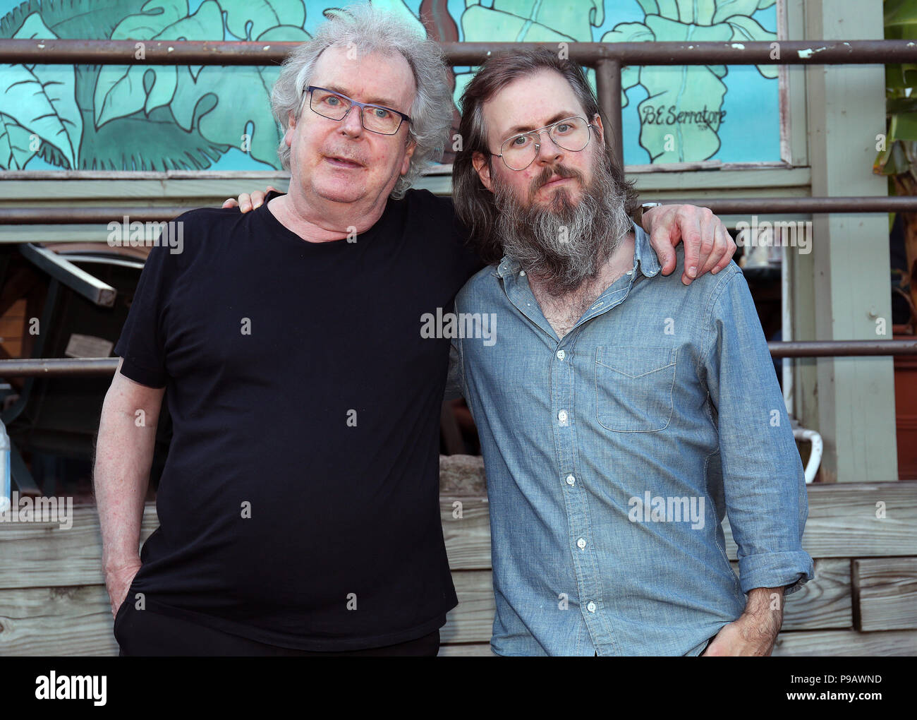 New Hope. 15th July, 2018. : Honey West from left to right, Ian McDonald and son, bass player, Max McDonald portrats taken in New Hope, Pa on July 15, 2018 Credit: : Star Shooter/Media Punch/Alamy Live News - Stock Image