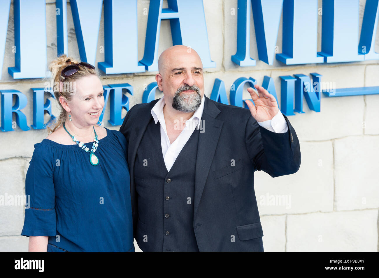 London, UK. 16th July 2018. Omid Djalili (R) arrives for the world film premiere of 'Mamma Mia! Here We Go Again' at Eventim Apollo, Hammersmith in London. Credit: Wiktor Szymanowicz/Alamy Live News - Stock Image