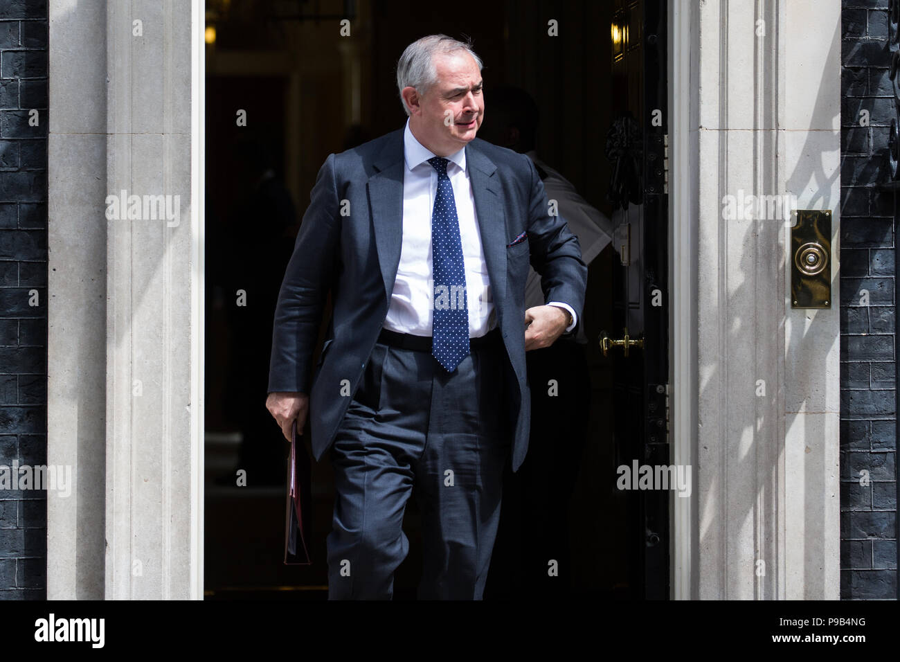 London, UK. 17th July, 2018. Geoffrey Cox QC MP, Attorney General,  leaves 10 Downing Street following the final Cabinet meeting before the summer recess. Credit: Mark Kerrison/Alamy Live News - Stock Image