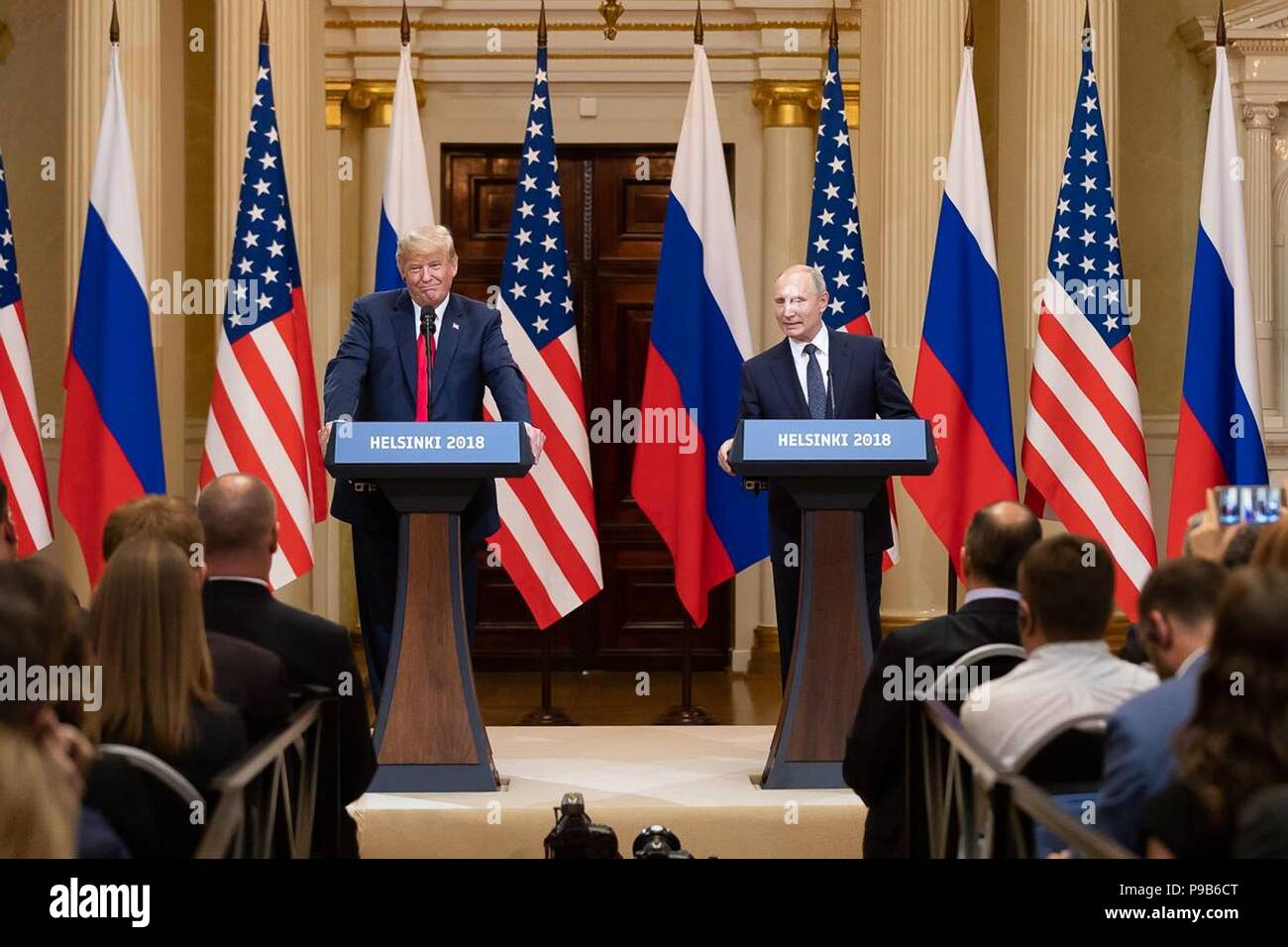 Russian President Vladimir Putin with U.S. President Donald Trump during a joint press conference at the conclusion of the U.S. - Russia Summit meeting at the Presidential Palace July 16, 2018 in Helsinki, Finland. - Stock Image