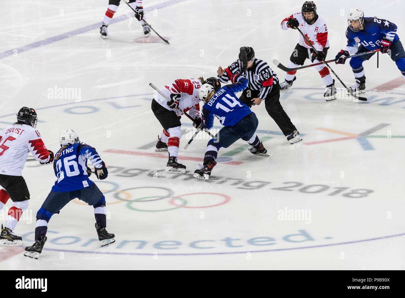 Face Off During The Gold Medal Women S Ice Hockey Game Usa Vs Canada