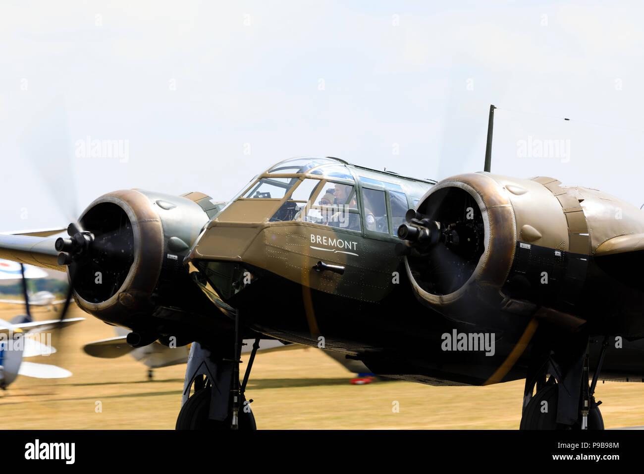 "Bristol Blenheim Mk1 ""Bremont"" with propellors turning. - Stock Image"