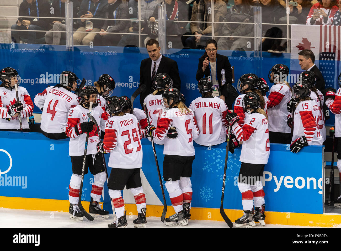 Canadian Head Coach Laura Schuler With Team Canada During The Gold