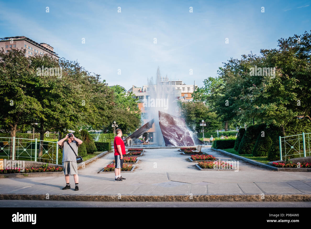 outdoor fountain in front of palais station quebec city canada - Stock Image