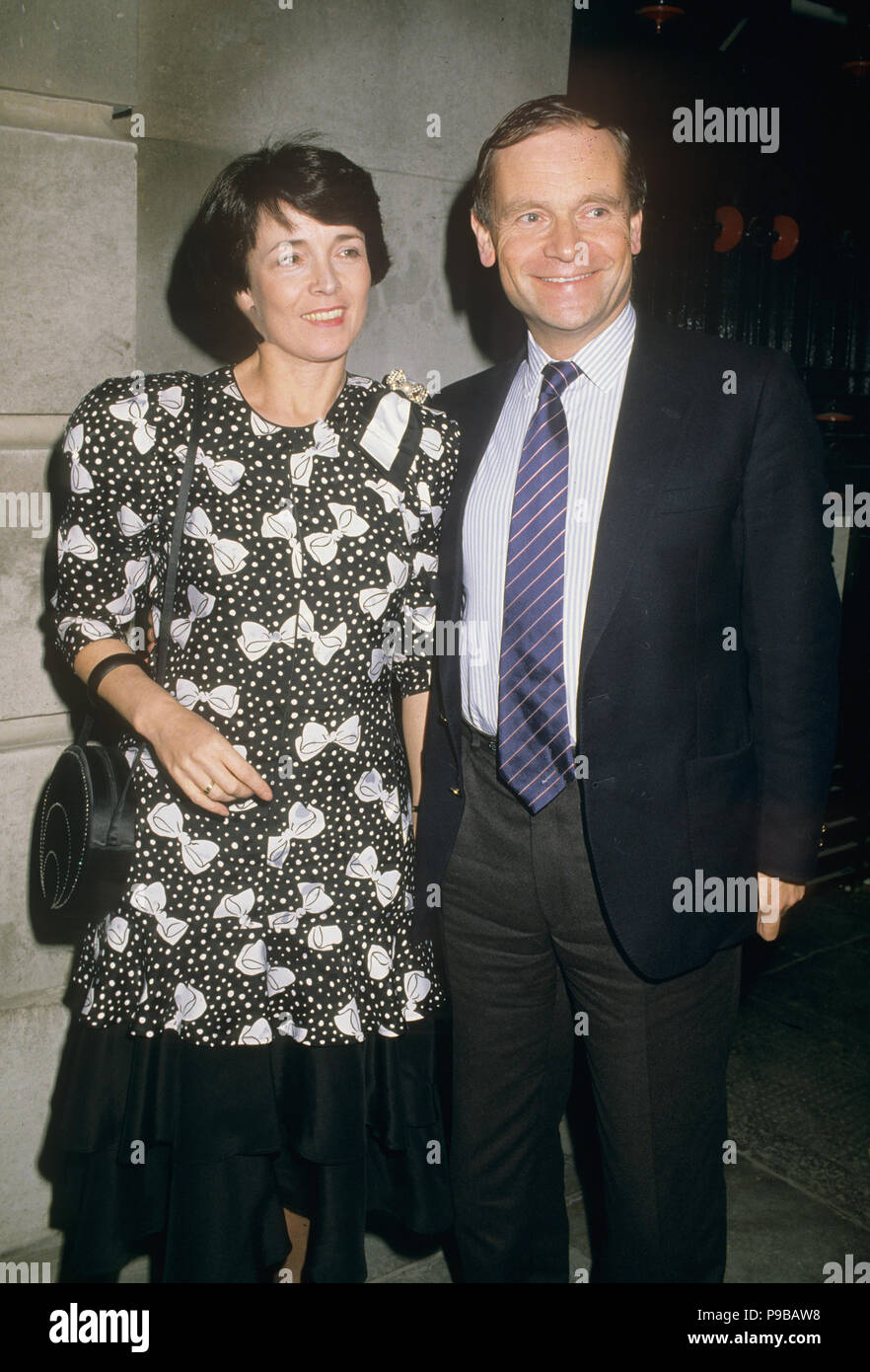 JEFFREY ARCHER English novelist and politician with his wife Mary about 1990 - Stock Image