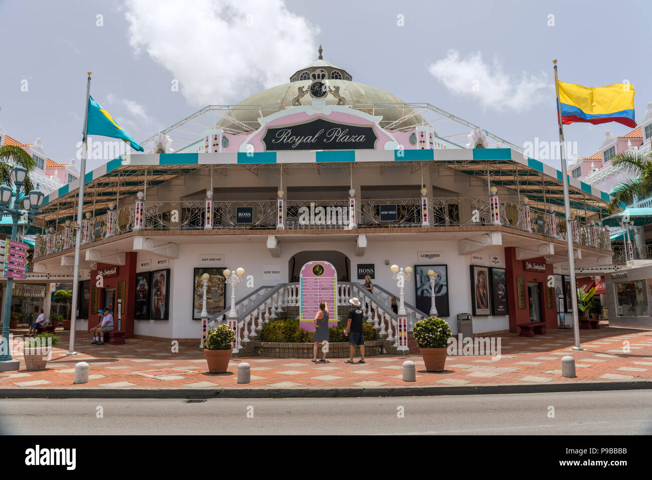 Royal Plaza shopping mall, Oranjestad, Aruba, Dutch Caribbean Stock
