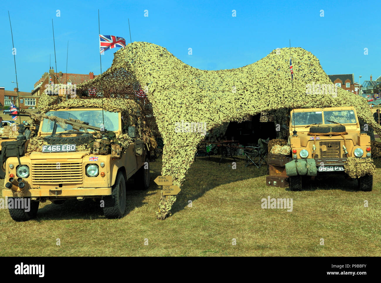 British Military Vehicles, jeep,armoured car, camouflage tent, 1980's vinatage, as used in Afghanistan War - Stock Image