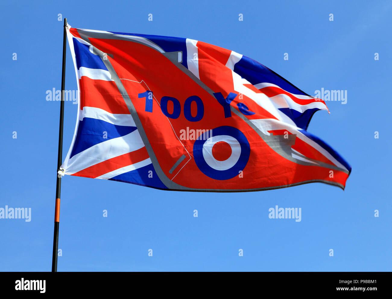 RAF, Royal Air Force, 100 Years, Centenary, commemorative flag, Union Jack, RAF logo - Stock Image
