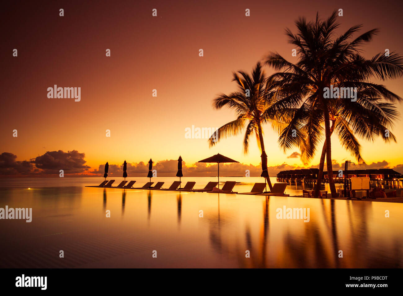 Luxury swimming pool in beautiful sunset. Luxury summer vacation and holiday concept and design. Tropical poolside travel design - Stock Image