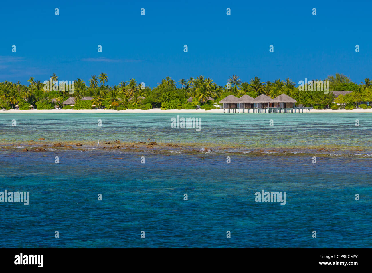 Fantastic tropical resort or hotel with luxury waster bungalow - Stock Image