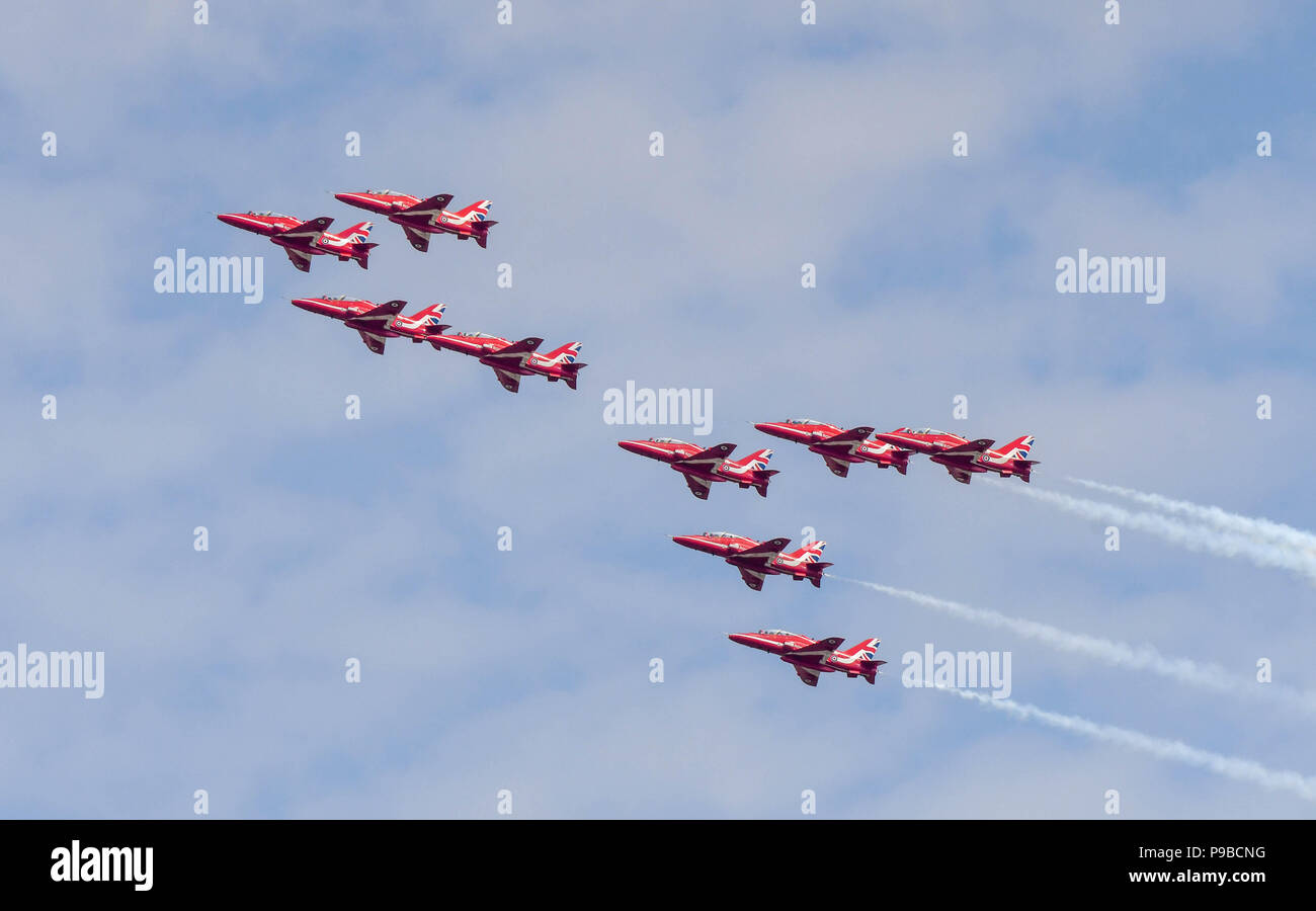 All nine Hawk jets of the Royal Air Force aerobatic team, the Red Arrows, flying in formation at the Royal International Air Tattoo 2018 Stock Photo