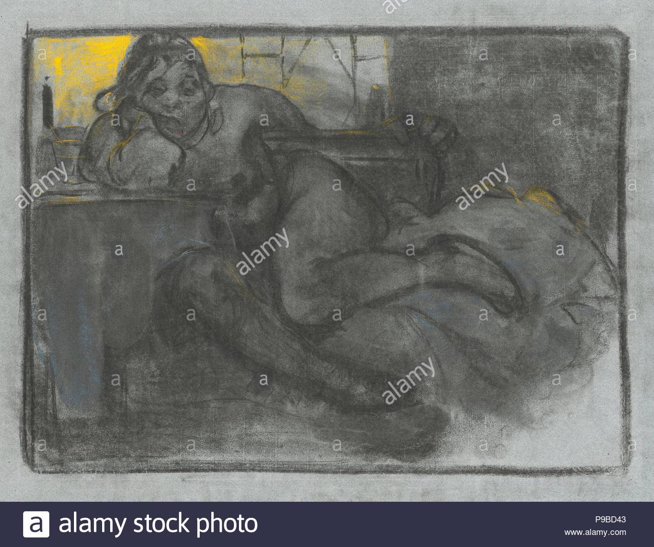 The Absinthe Drinker. Museum: National Gallery, Prague. - Stock Image