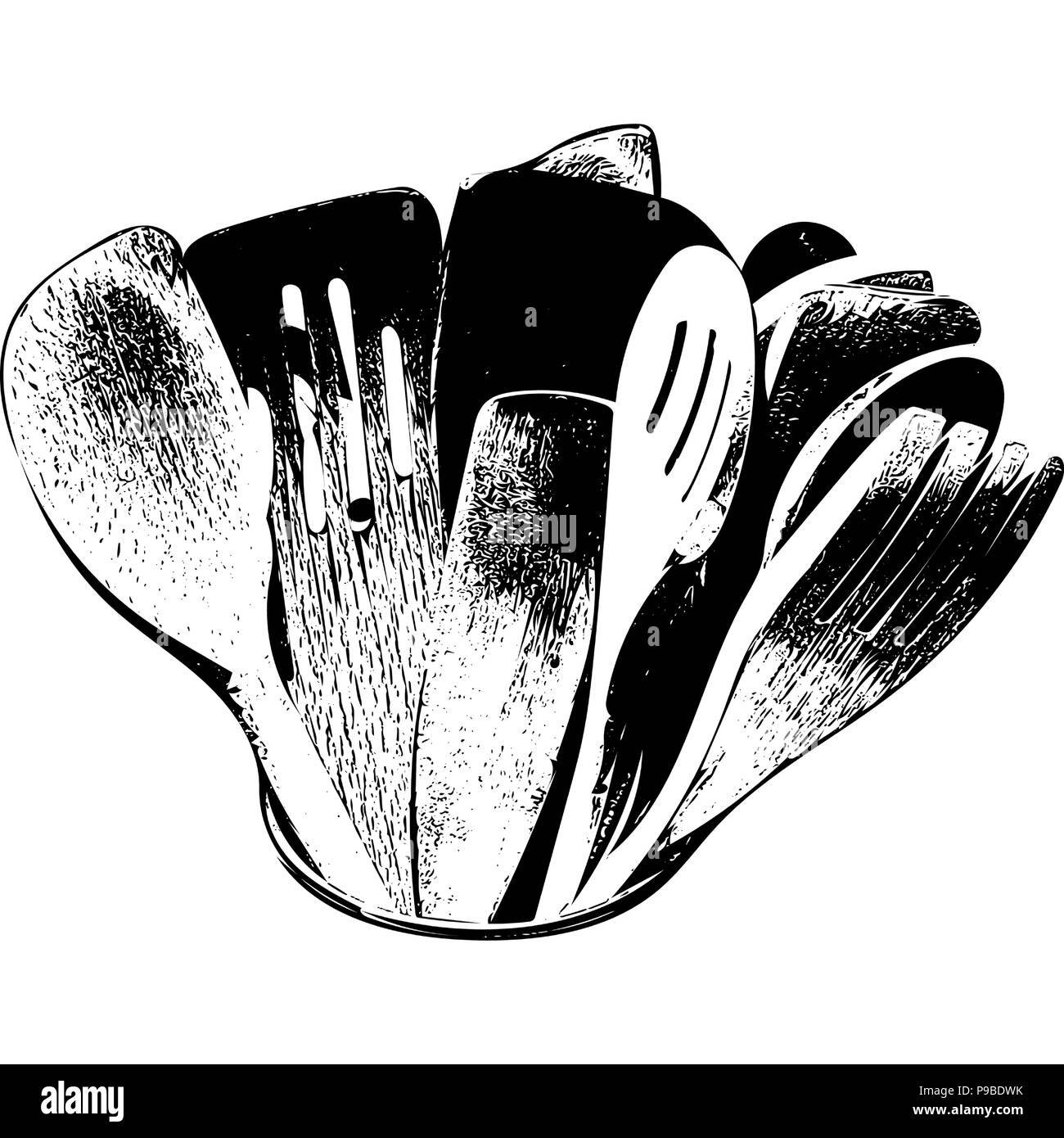 Black and white vector graphic of assorted wooden cooking utensils stood upright. - Stock Vector
