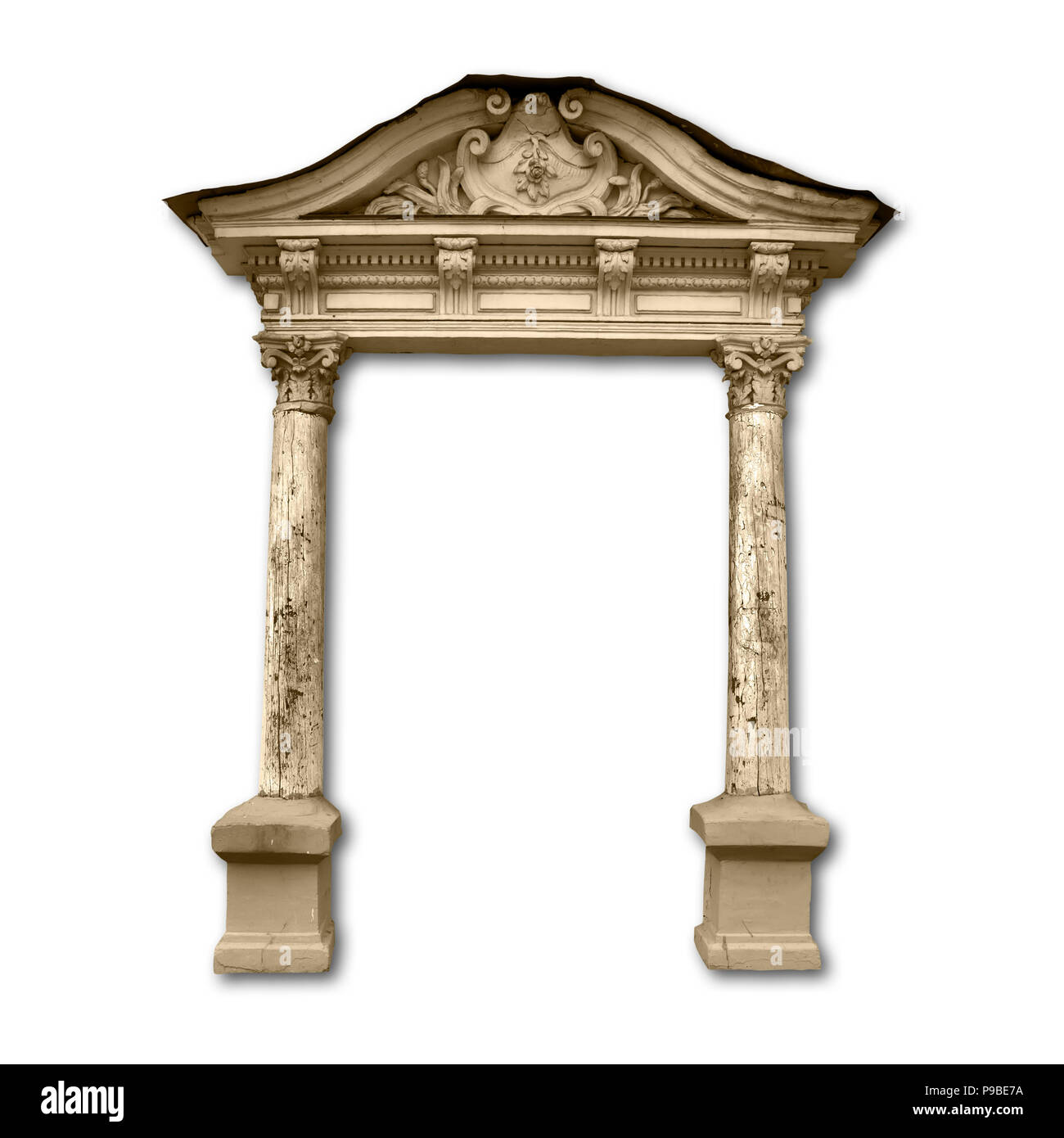 Portico entrance with wooden columns with drop shadow isolated on white background - Stock Image