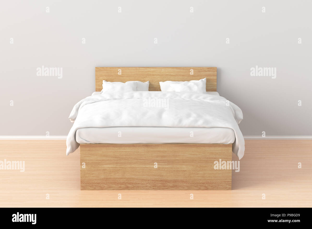 Picture of: Wooden Double Bed With White Linen In Simple Interior 3d Render Stock Photo Alamy