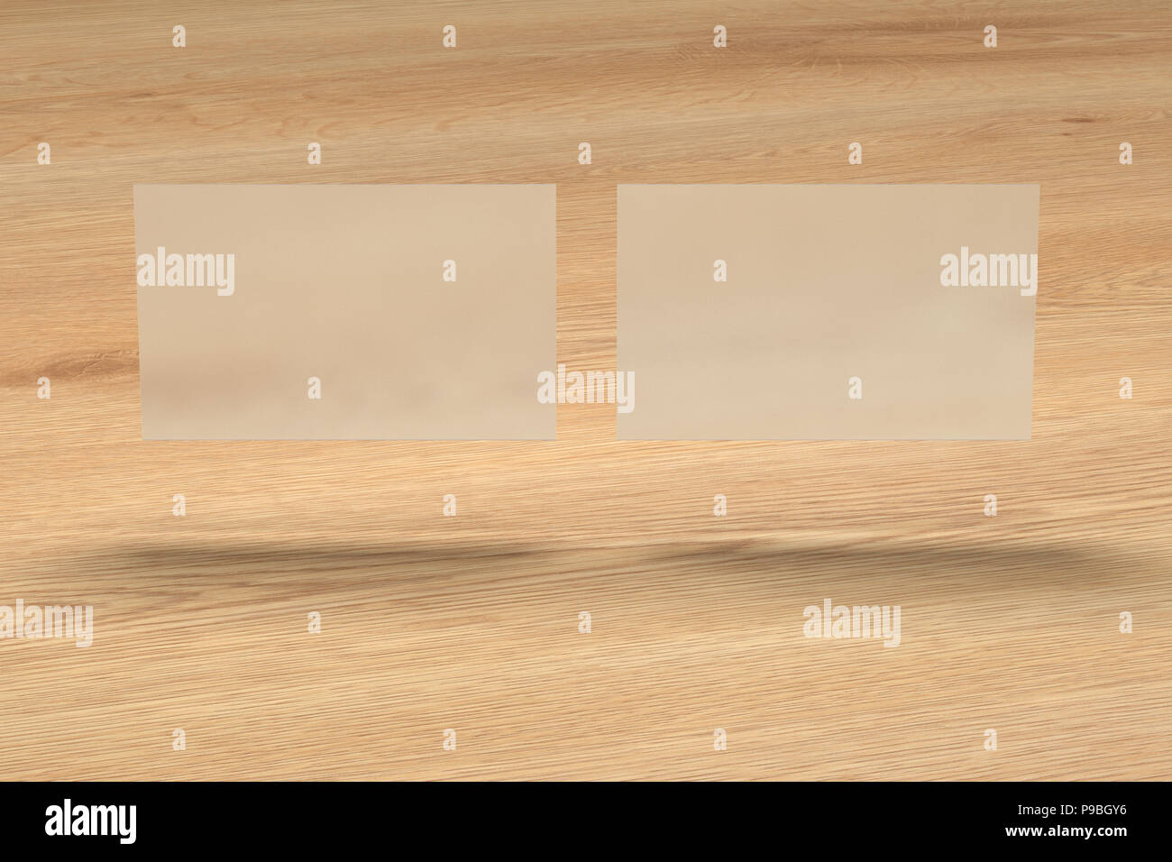 Blank Transparent Business Cards Above Wooden Background 3d Render