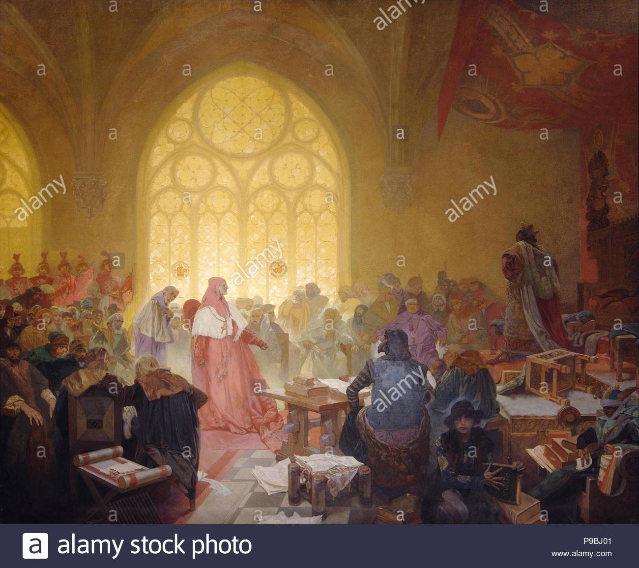 The Hussite King George of Podebrady (The cycle The Slav Epic). Museum: City Gallery Prague. - Stock Image