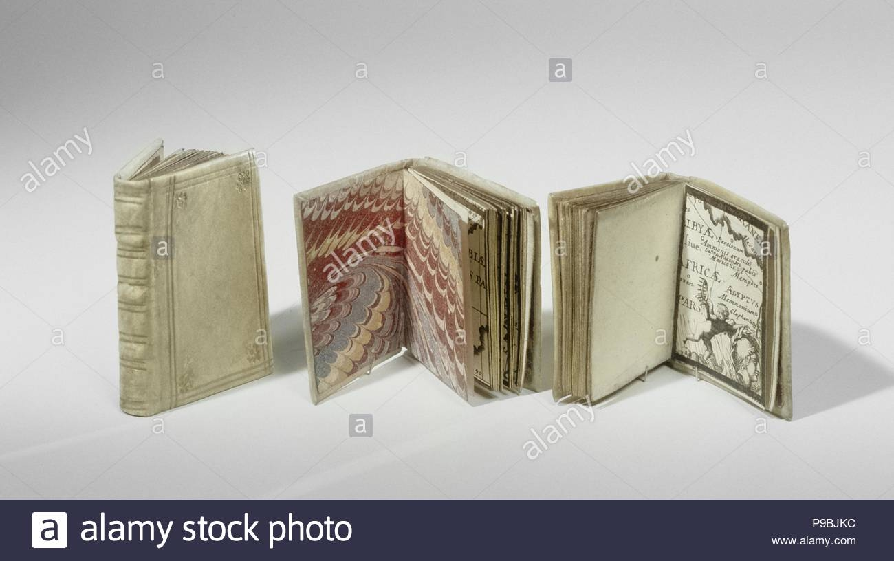 book with maps of Eastern Europe and North Africa. Bound in parchment with gold lettering. ca. 1690 - ca. 1710, parchment paper gold, h 5.0 cm x w 4.0 cm x d 1.0 cm, Dollhouse, doll house, doll's house object. - Stock Image