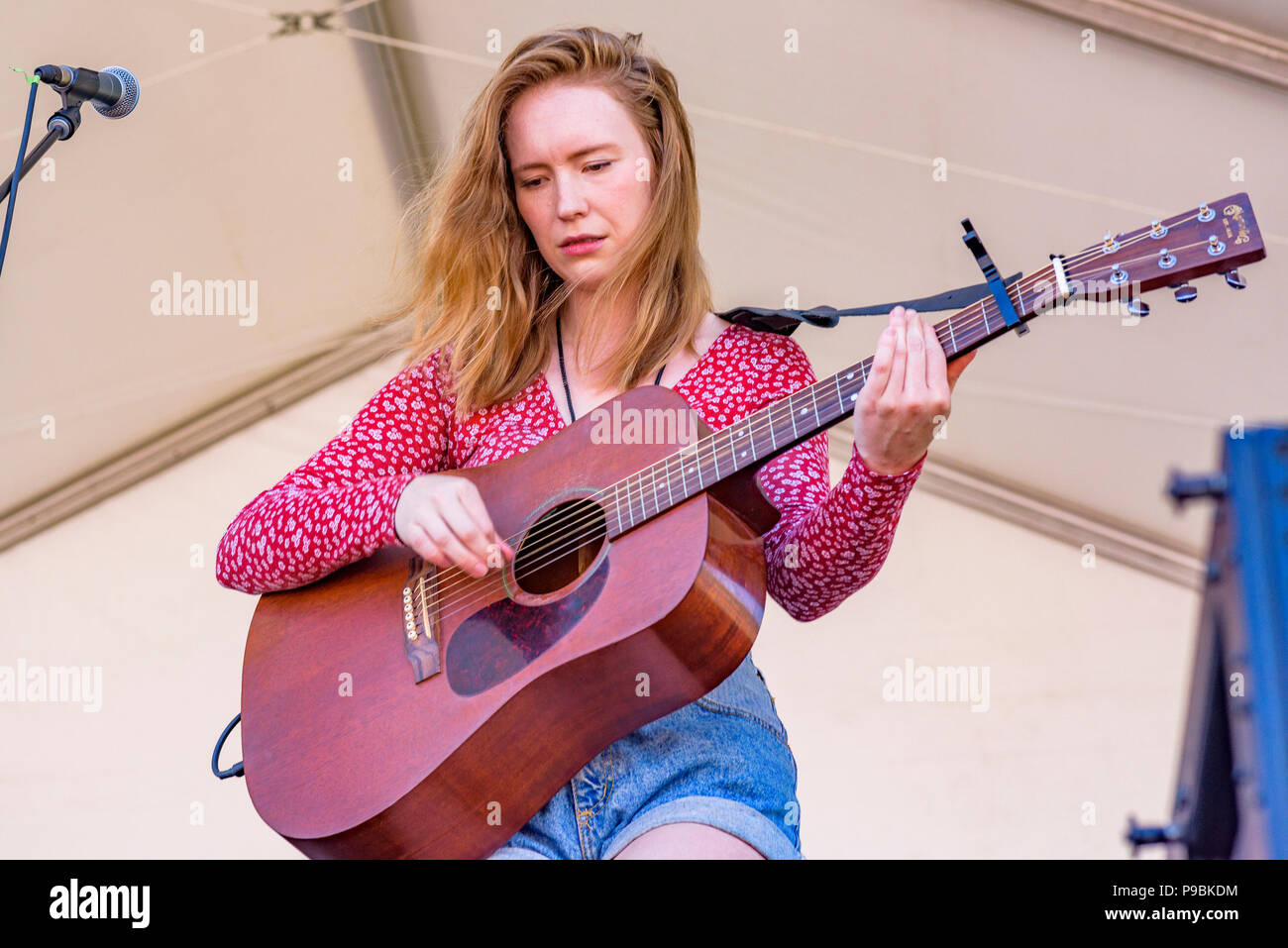 live performance, Skye Wallace, Vancouver Folk Music Festival, Vancouver, British Columbia, Canada. - Stock Image