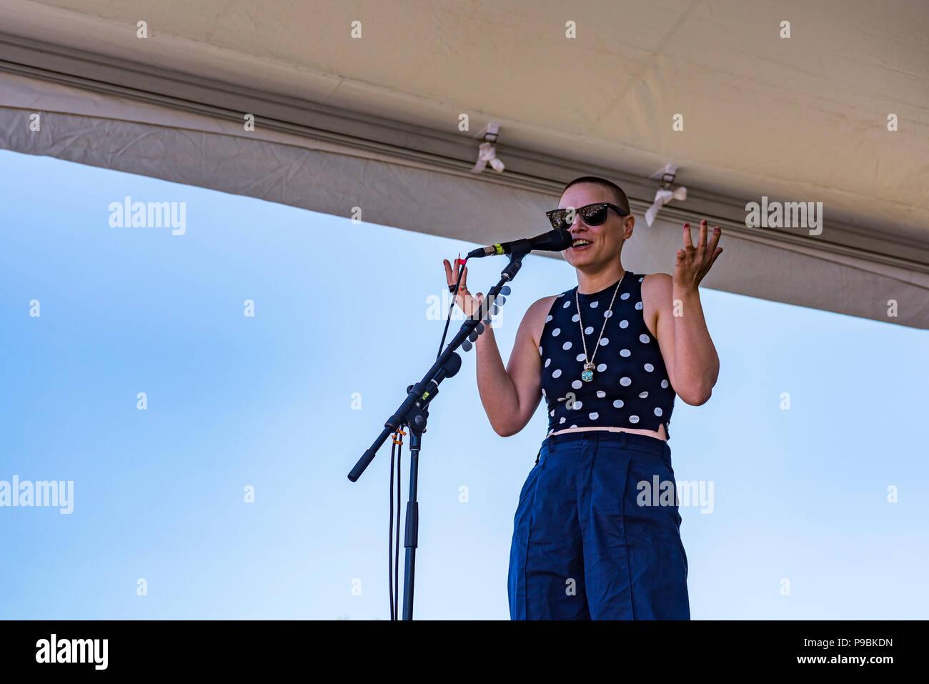 live performance,Wallis Bird, Vancouver Folk Music Festival, Vancouver, British Columbia, Canada. - Stock Image