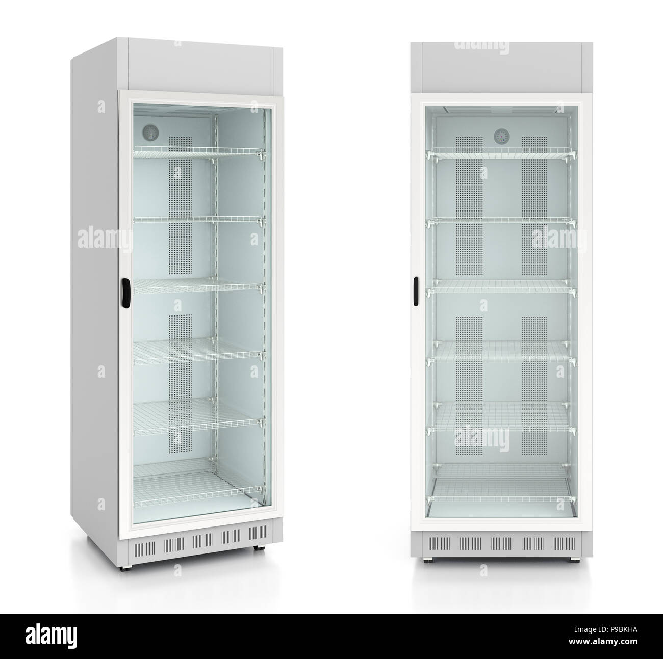 Set Of Empty Glass Door Display Refrigerator Isolated On White