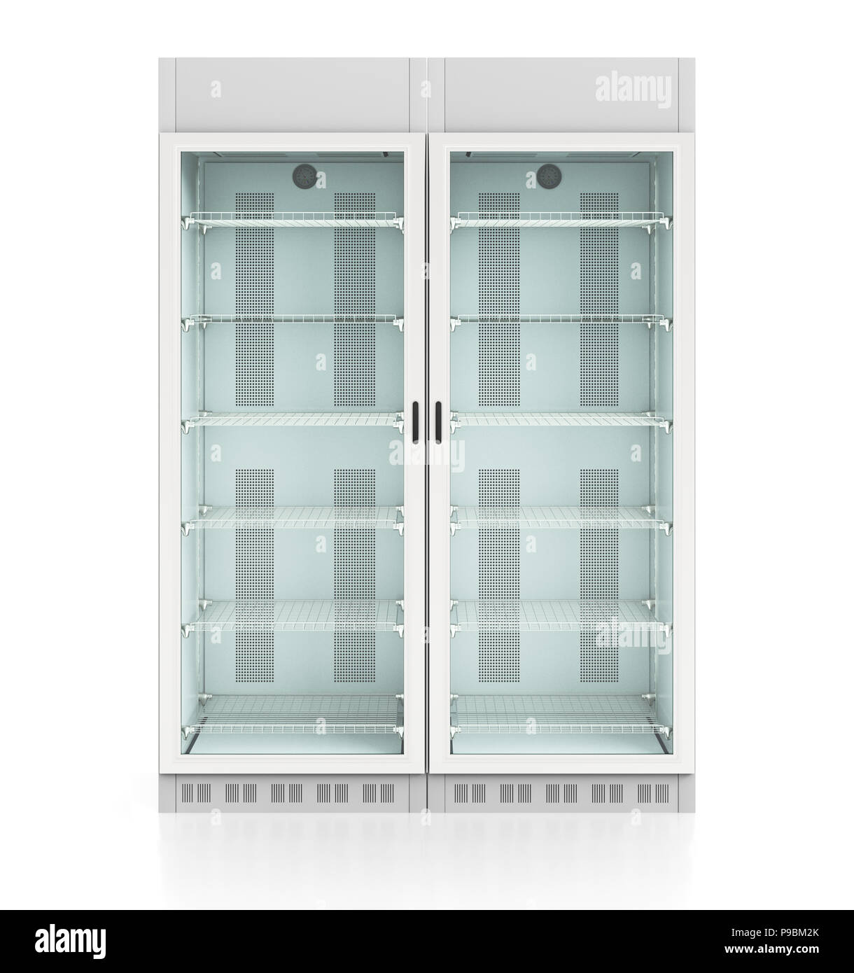 Two Empty Glass Door Display Refrigerators Isolated On White