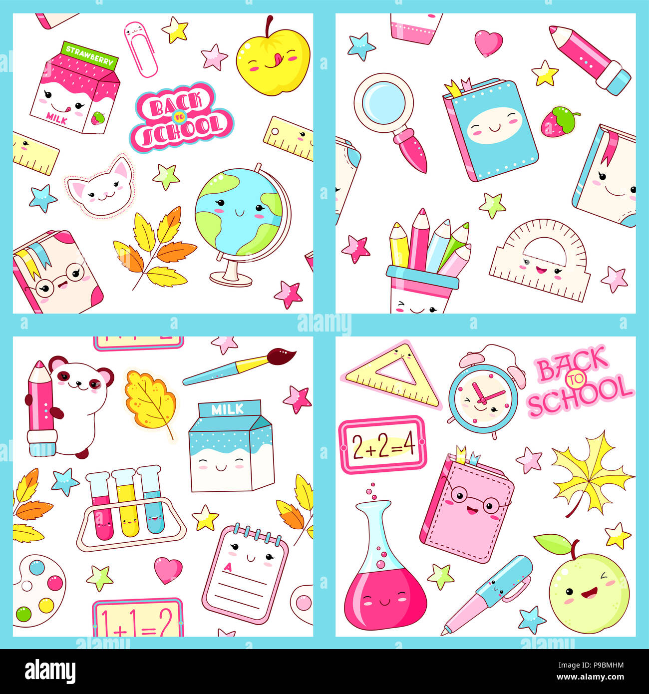 Set of different vector seamless retro patterns (tiling) with cute ...