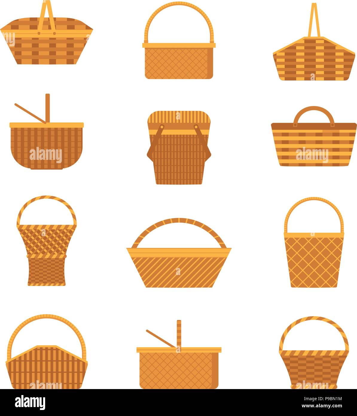 Wicker Picnic Basket Icons - Stock Vector