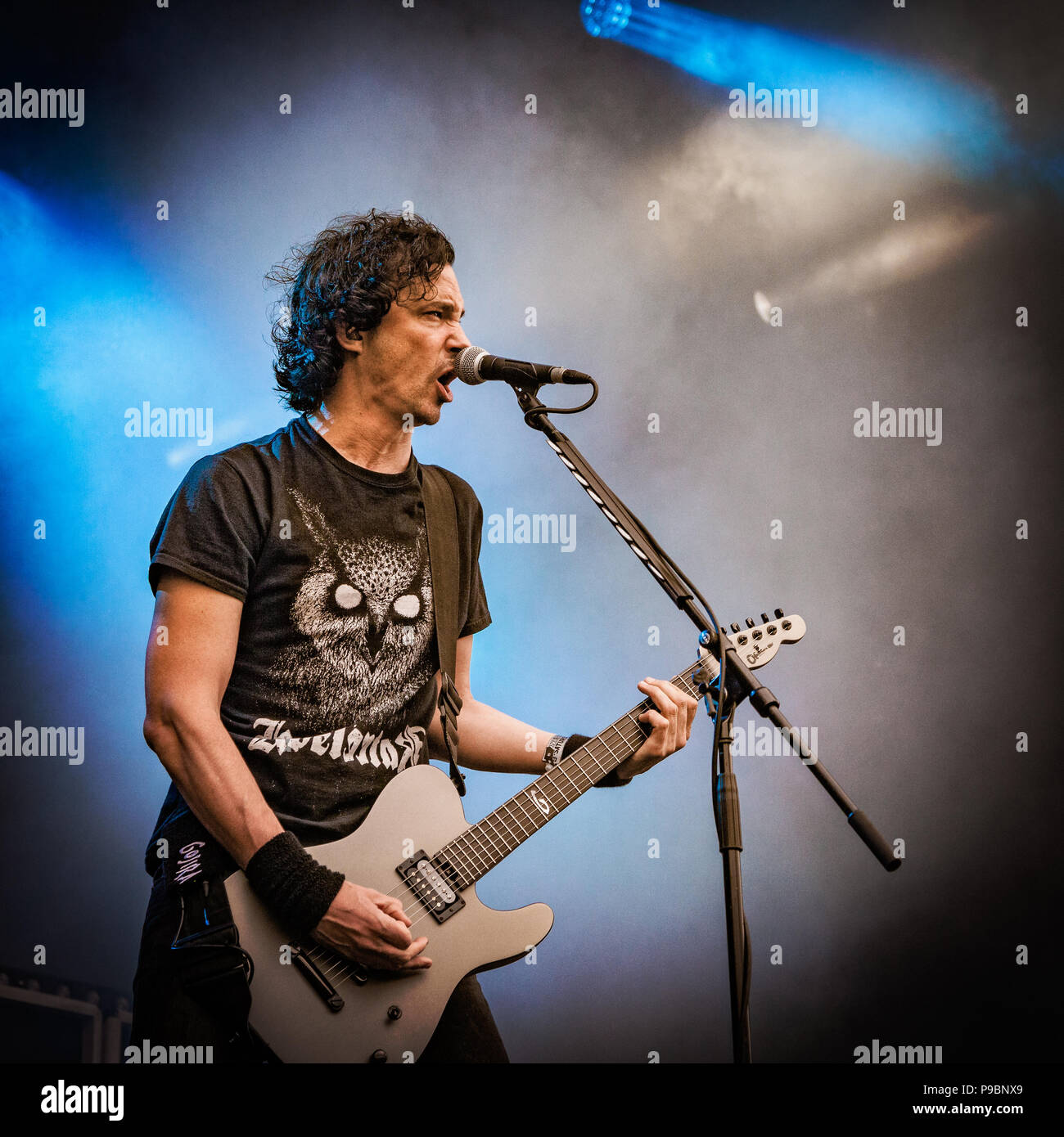 French heavy metal band Gojira on stage at the 2015 Copenhell Metal festival. Here singer and guitarist Joe Duplantier - Stock Image