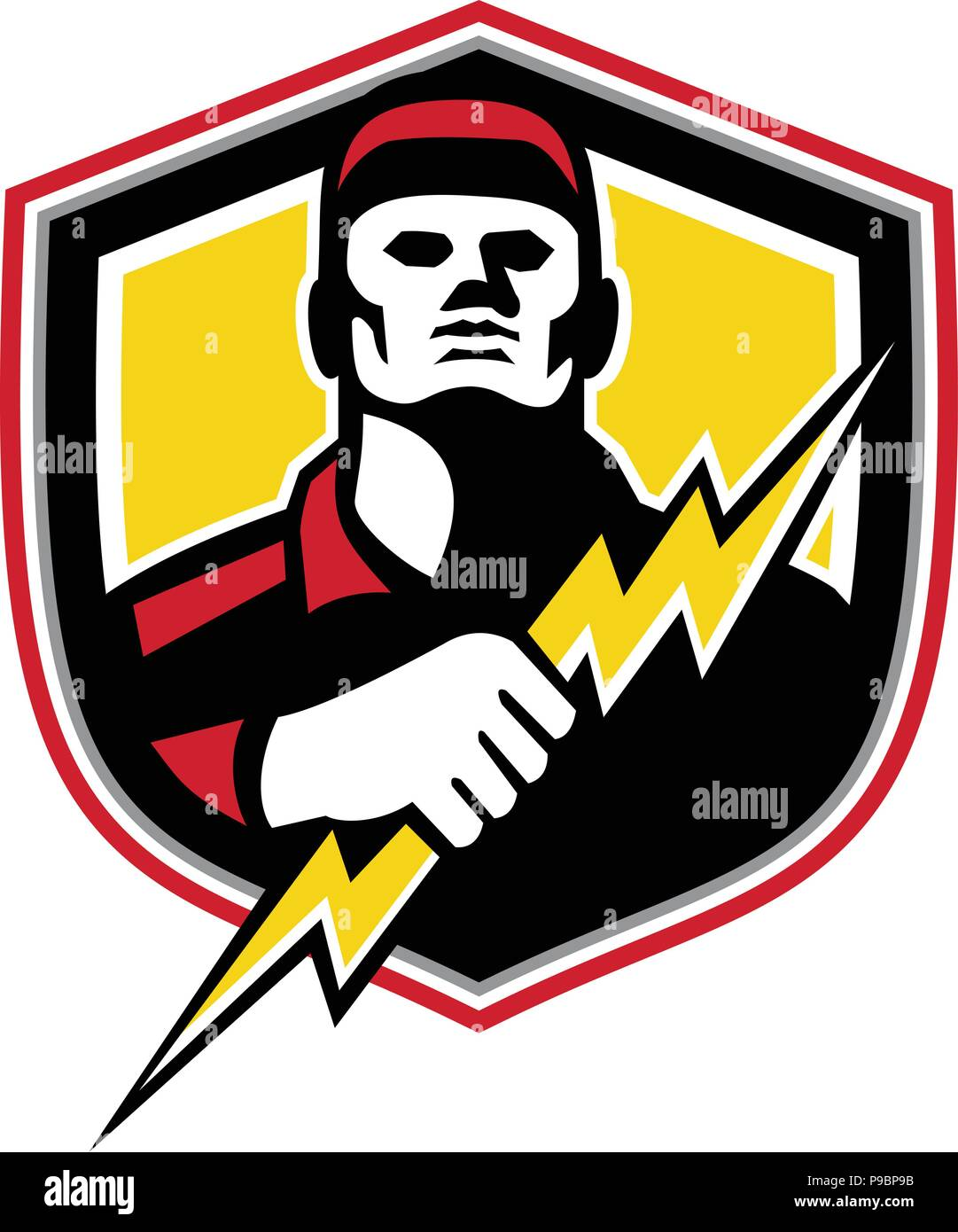 the latest f5651 c587b Mascot icon illustration of bust of a power lineman or electrician holding  a thunderbolt or lightning