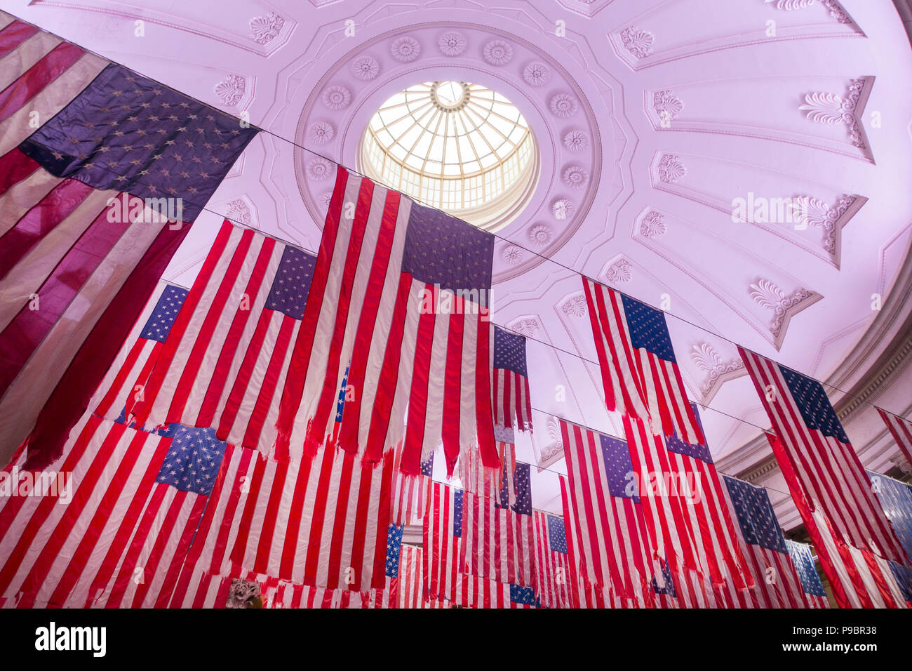 Federal Hall building in lower Manhattan New York City - Stock Image