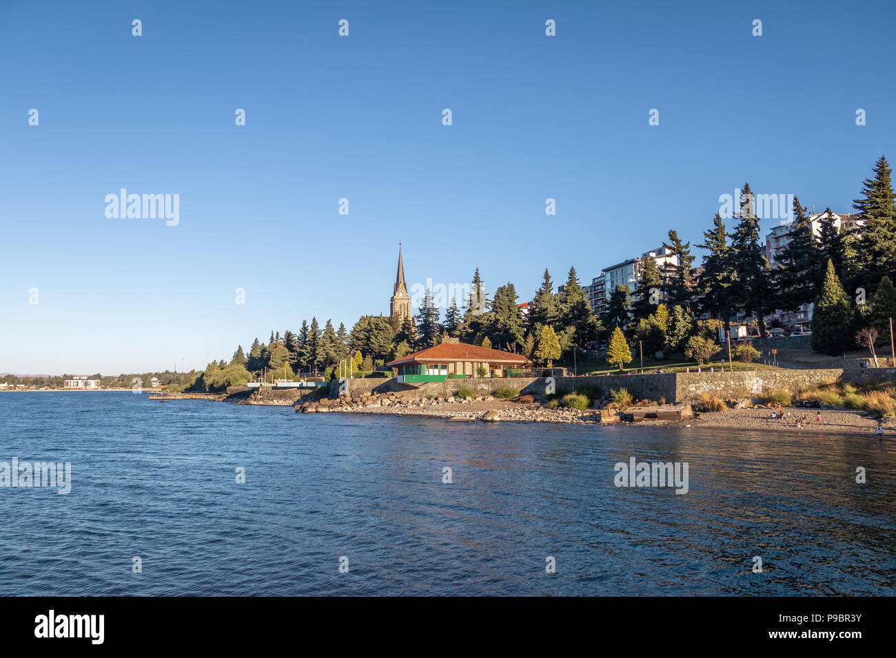 Bariloche skyline and Nahuel Huapi Lake - Bariloche, Patagonia, Argentina - Stock Image
