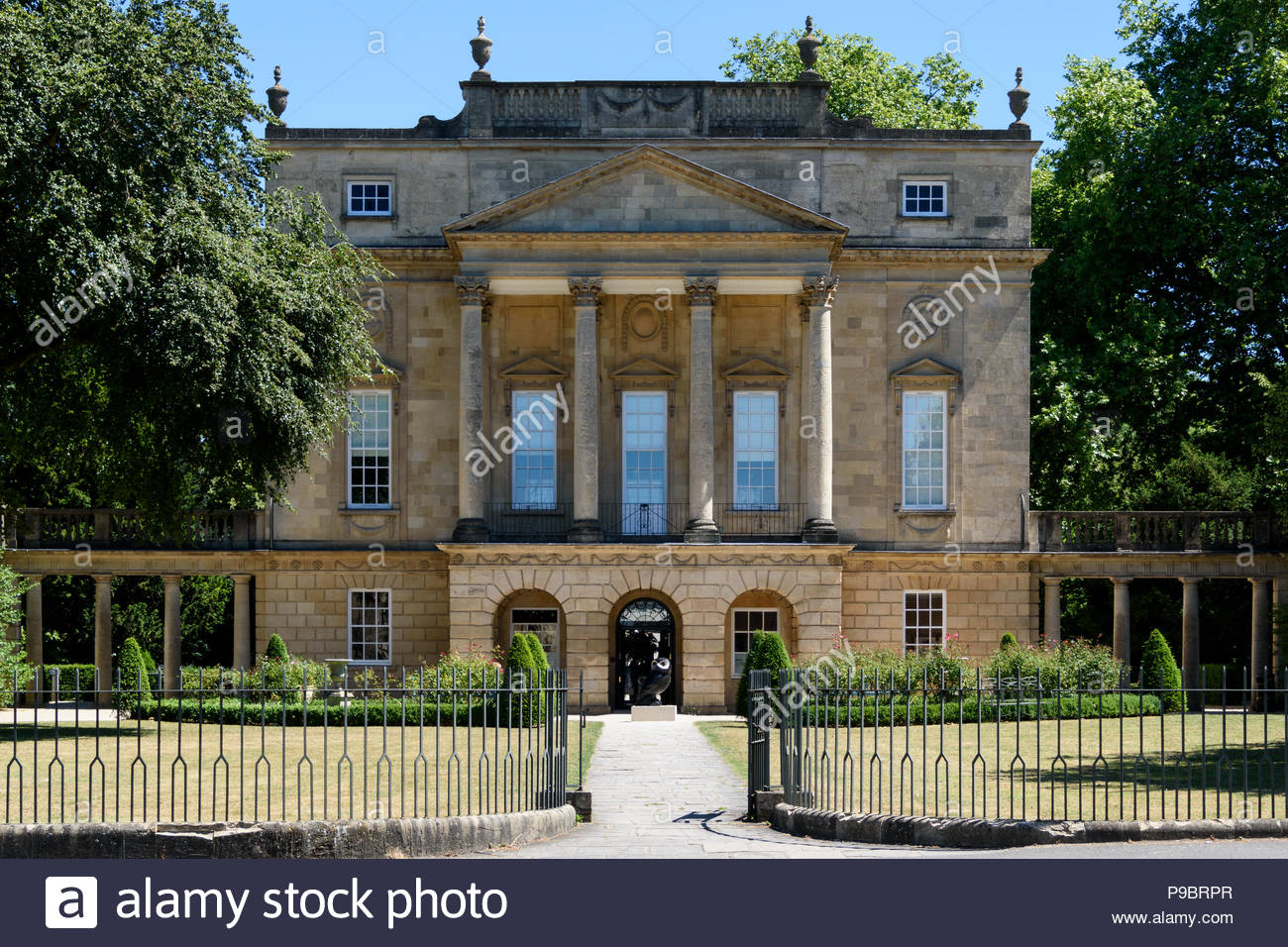 The grand and elegant frontage of The Holburne Museum, Bath, Somerset, England, UK - Stock Image