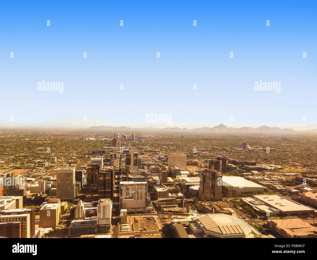 Bird eye view of Phoenix Arizona downtown, on a sunny July morning. - Stock Image